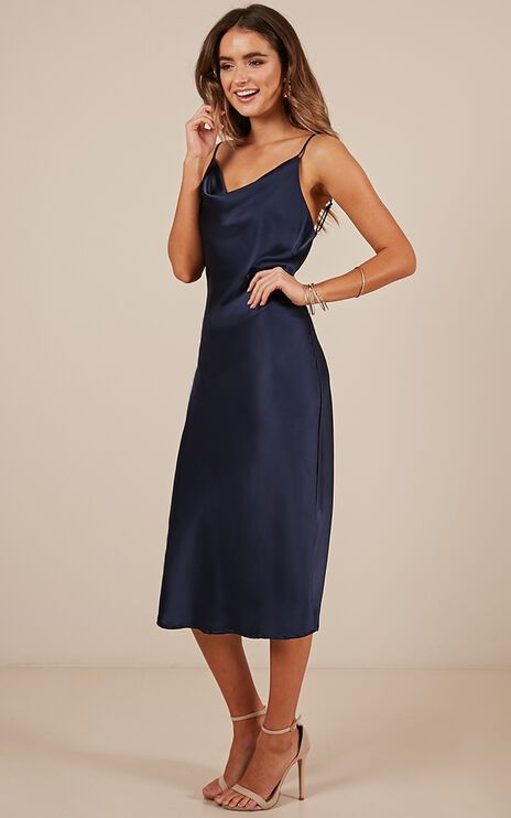 Know The Drill Dress In Navy Satin