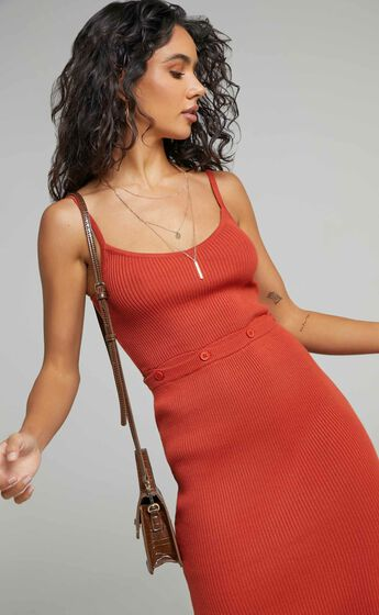 Cordlyn Strappy Midi Knit Dress with Button Up Waist in Rust