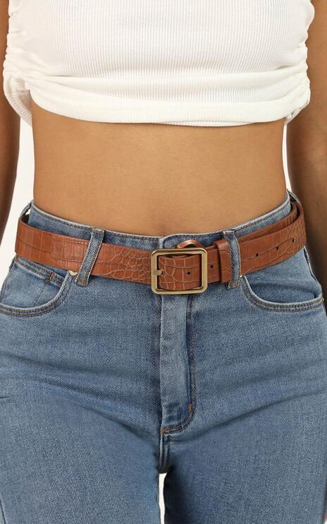 Nothing But Love Belt In Tan Croc And Gold