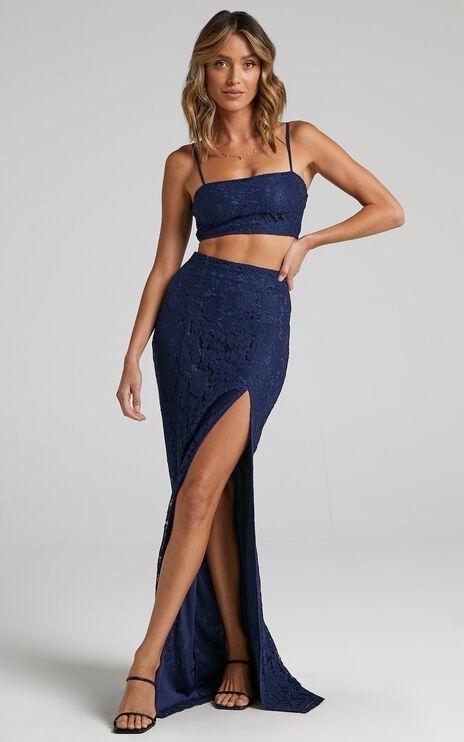 Tylah Two Piece Set In Navy Lace