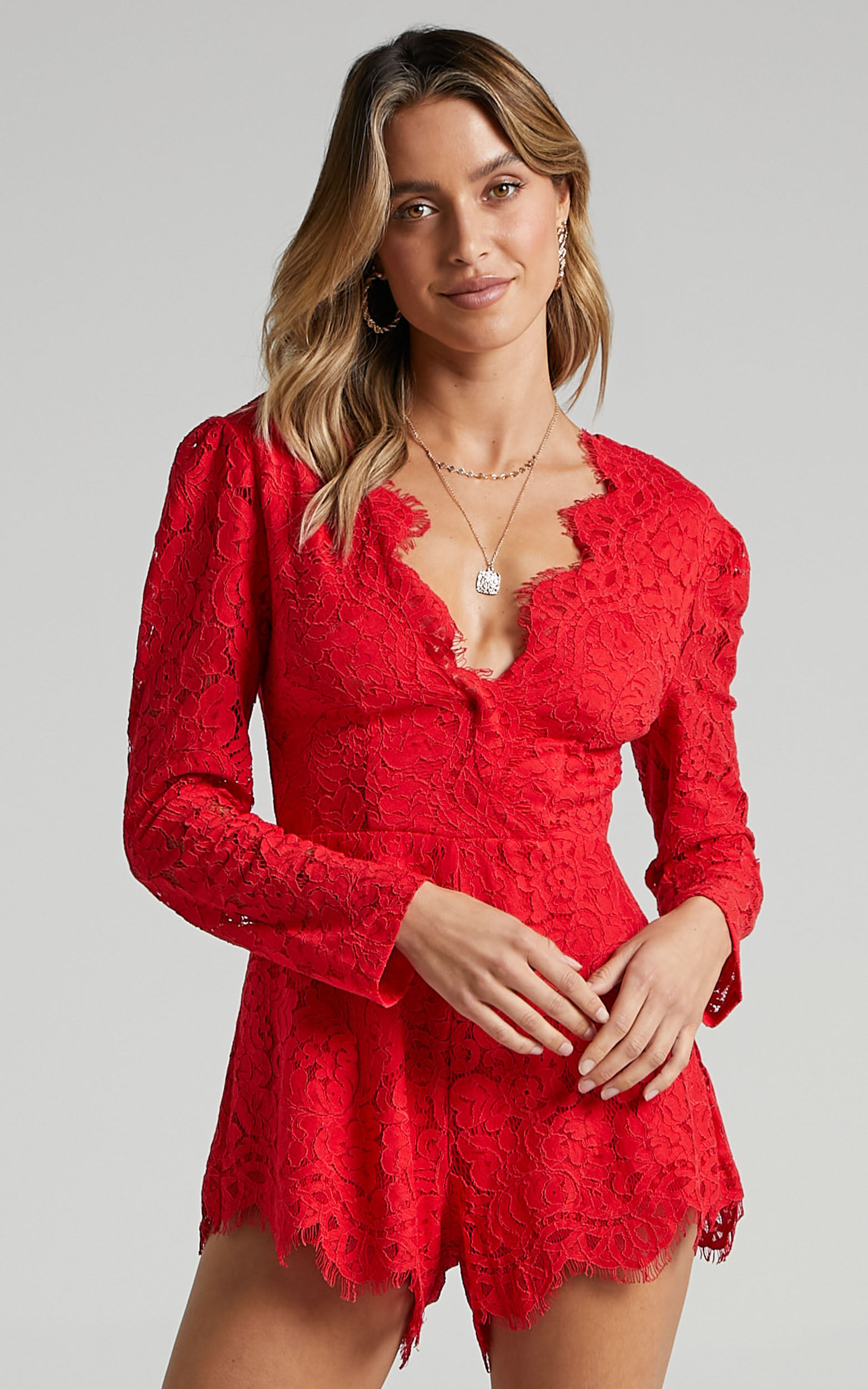Felt Good Playsuit in Red Lace - 06, RED2, super-hi-res image number null