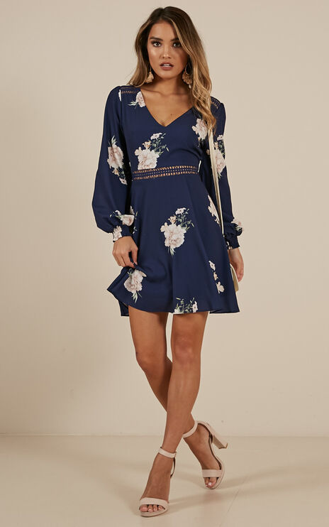Beautiful Escape Dress In Navy Floral