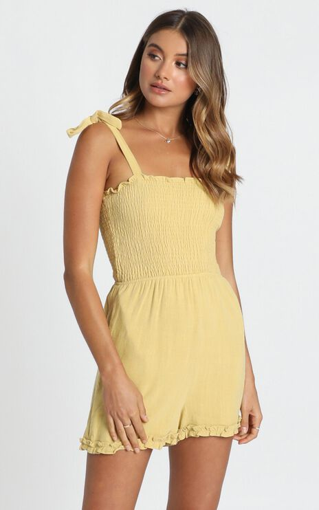 Jacqueline Shirred Playsuit In Mustard