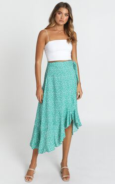 Alyse Skirt In Green Floral