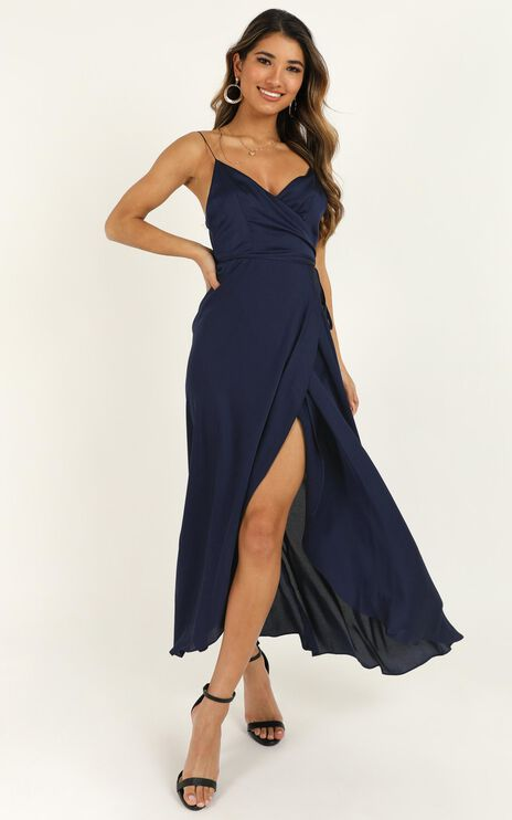 The Countess Dress In Midnight Blue Satin