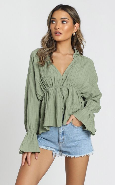 Set Free Button Up Shirt in Khaki
