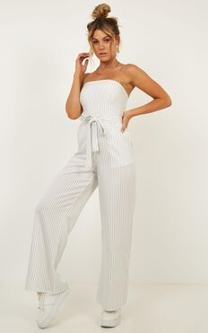 Lover Of Summer Day Jumpsuit In White Stripe