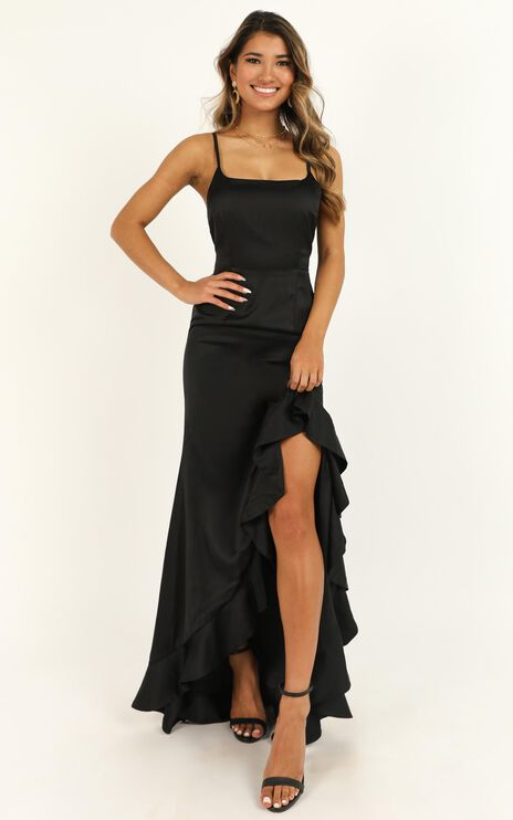 Find It In Your Heart Dress In Black Satin