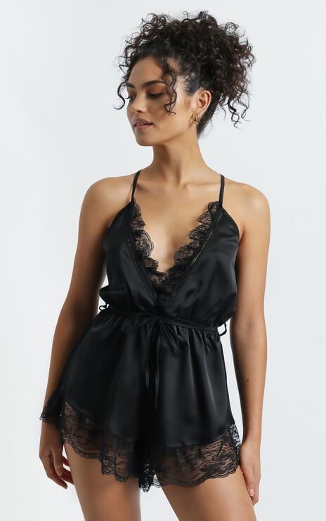 Night After Night Romper in Black Satin