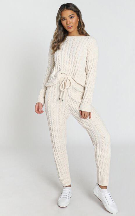 Iona Cable Knit Two Piece Set in cream