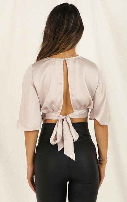 Your Own Luck top in blush satin - 12 (L), Blush, hi-res image number null