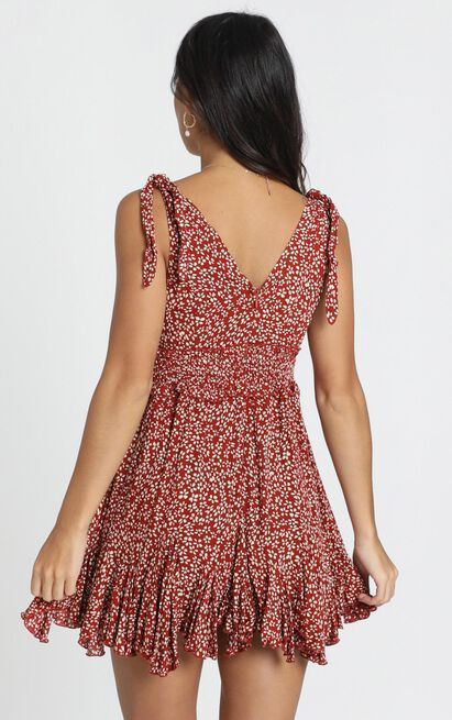 Strength In Love Dress in red floral - 12 (L), Red, hi-res image number null