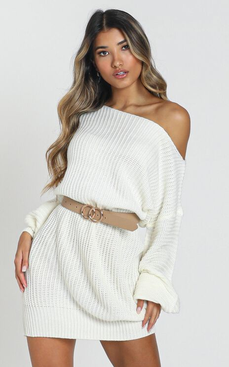 Standing In My Way Knit Dress In Cream