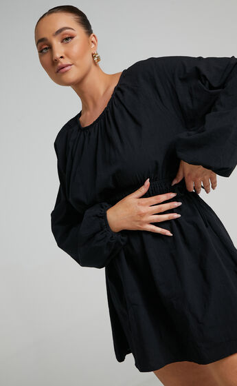 Easton Elastic Waist Long Sleeve Mini Dress in Black