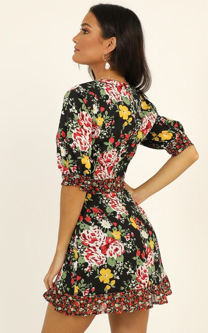 Holiday Mood Dress in black floral - 4 (XXS), Black, hi-res image number null