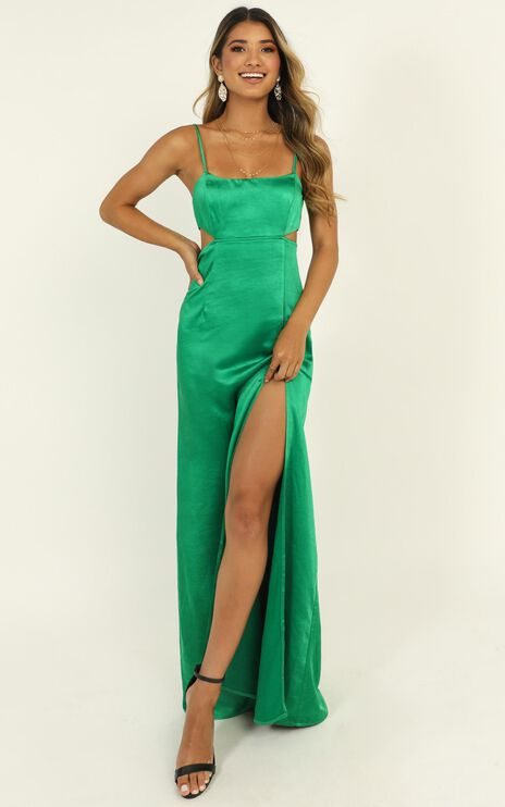 A Special Mention Dress In Green Satin