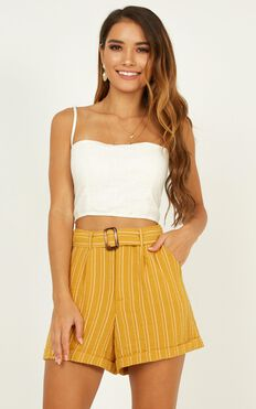 Nothing Lasts Forever Shorts In Mustard Stripe Linen Look