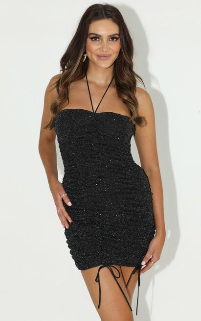 Give It To Me Girl Dress in black lurex - 20 (XXXXL), Black, hi-res image number null