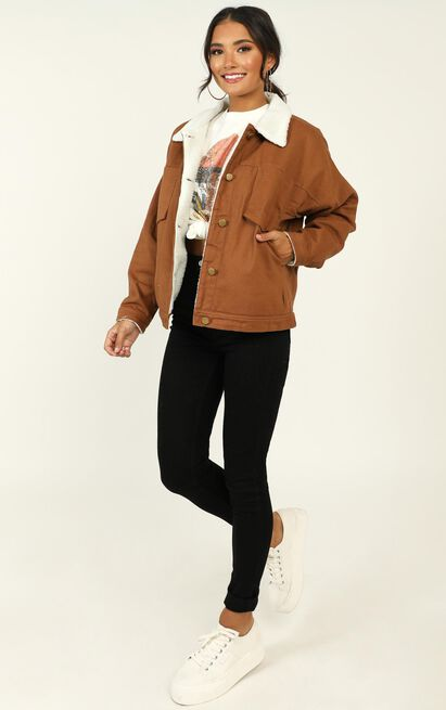 Stranger shearling jacket in tan - S/M, Tan, hi-res image number null