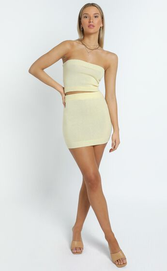 Connie Knitted Two Piece Set in Yellow