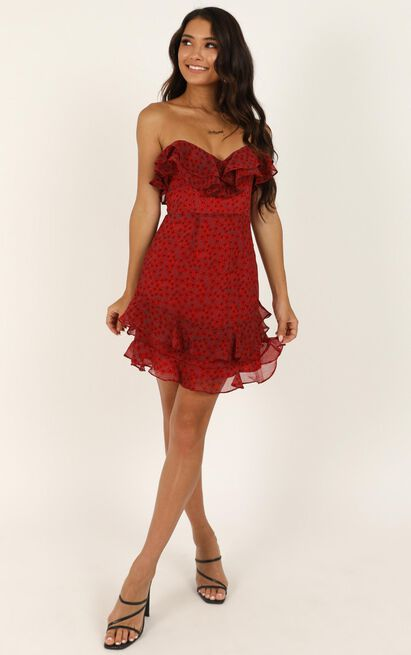 Knocked Off My Feet dress in red floral - 12 (L), Red, hi-res image number null