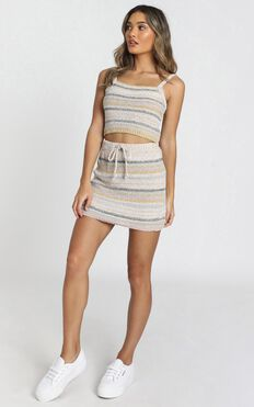 In Motion Knit Skirt In Cream Stripe