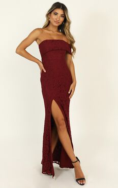 Just Hold On Dress In Wine Lace