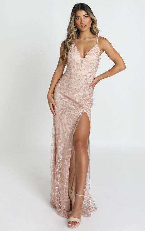 Adeline Maxi Dress In Blush Glitter