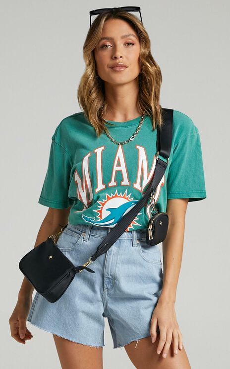 Majestic - Vintage NFL Boxy Tee Dolphins in Teal