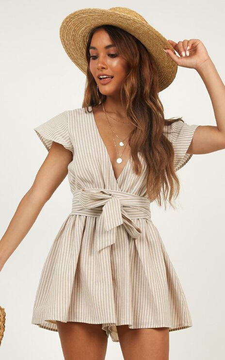 Top It Off Playsuit In Beige Stripe