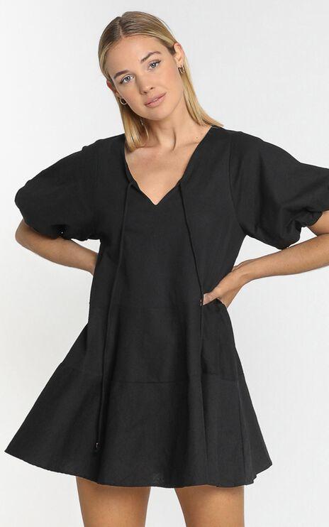 Krizza Mini Dress in Black Linen Look