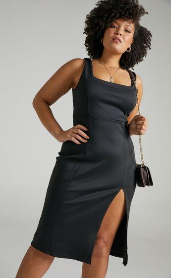 Mini Love Square Neck Split Midi Dress in Black