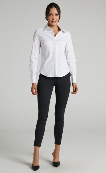 Briannon Longsleeve Fitted Collared Button Up Shirt in White