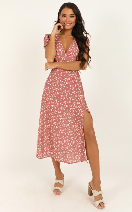 Sudden Life Dress In Dusty Rose Floral