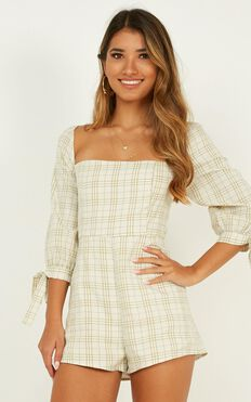 Perfectly Sweet Playsuit In Sage Check