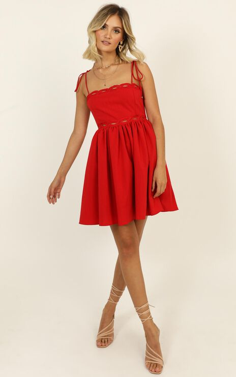 Get Out Right Now Dress In Red Linen Look