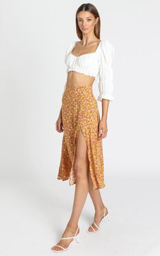 Kourtney Slip Skirt with Side Split in Mustard Floral