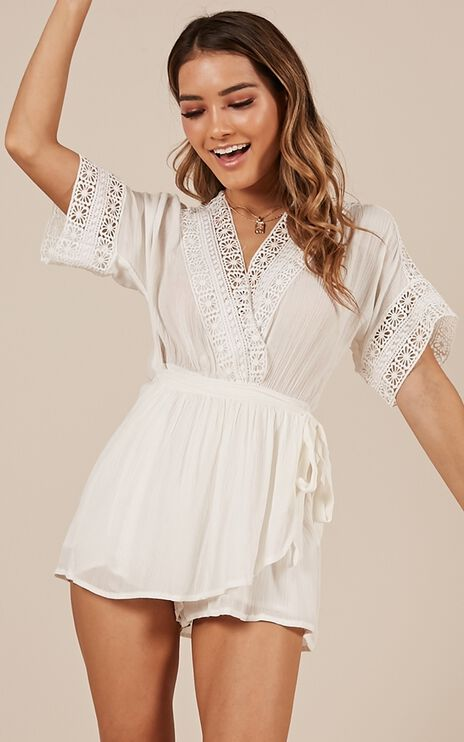 Single Touch Playsuit In White