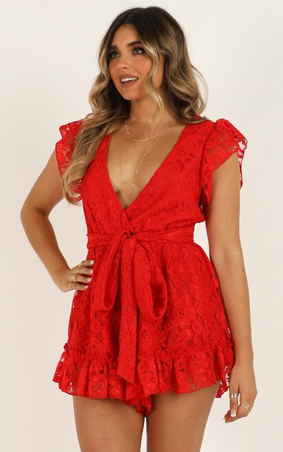 Missed The Party Playsuit in red lace - 12 (L), Red, hi-res image number null
