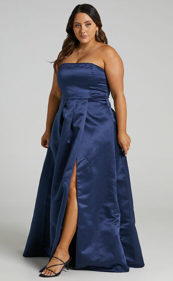 Queen Of The Show Strapless Maxi Dress in Navy Satin