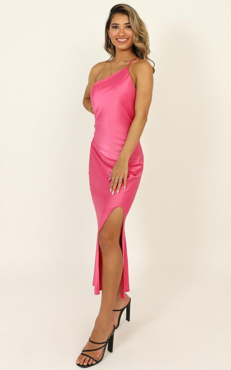 Look Me Up Dress In Hot Pink Satin