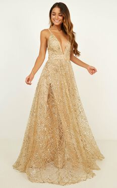 Eternal Sunshine Maxi Dress In Gold Sequin