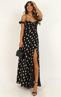 Too Busy Being In Love Dress In Black Floral