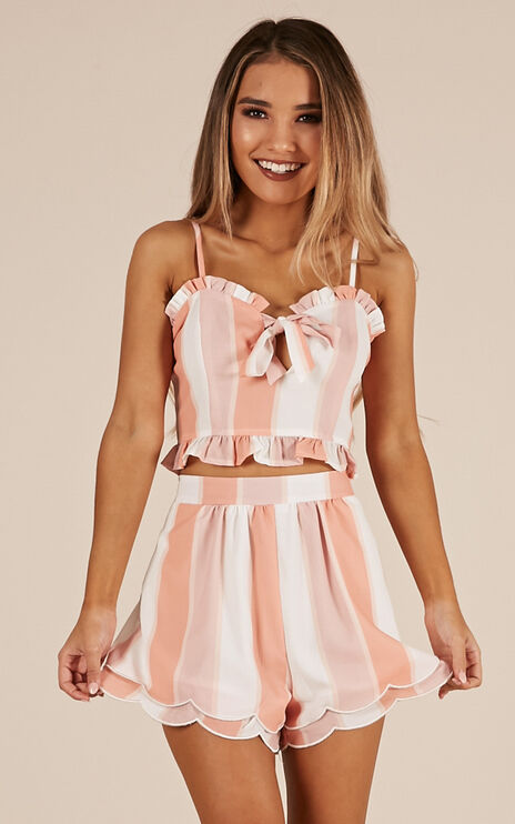 Follow The Leader Two Piece Set In Pink Stripe