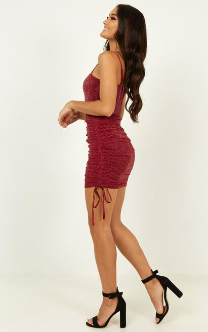 Time stands still dress in wine mesh lurex - 14 (XL), Wine, hi-res image number null