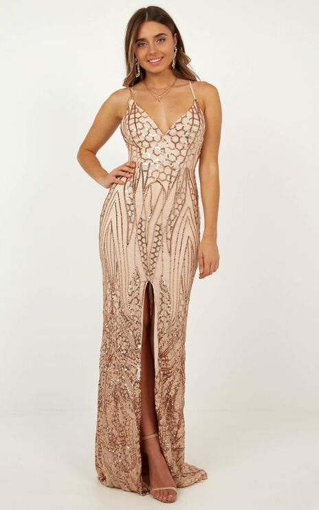 Eye Contact Maxi Dress In Rose Gold Sequin