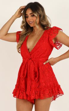 Missed The Party Playsuit In Red Lace