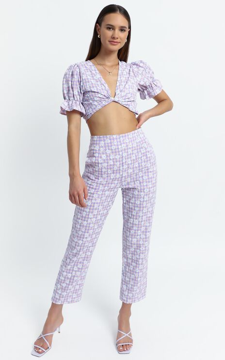 Octavia Pants in Lilac Floral