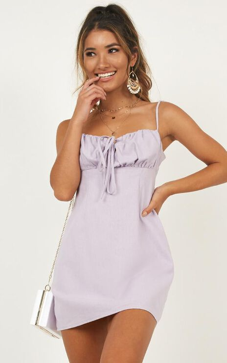 Break Free With Me Dress In Lilac Linen Look