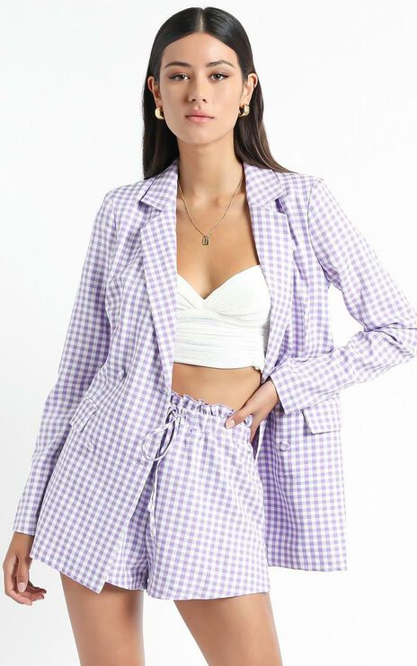 Quick To Win Blazer in Lilac Check
